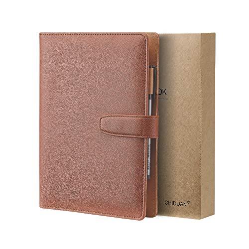 A5 Libreta de Cuero, CHIDUAN Cuaderno de Negocios Recargable, Notebook de Reuniones, Rayas/Clásico Forrado con Bolsillo y Soporte para Bolígrafo, 100 hojas de papel 100gsm (marrón)