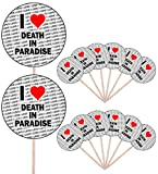 I Love Death in Paradise – Party Food – Cake Cupcakes – Picks Sticks – Food Flaggen – Stand Up Dekoration Topper (14 Stück)
