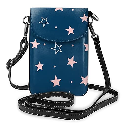 Patrón lindo con estrellas dispersas señoras cartera bolsa de teléfono móvil mini bolso de hombro con correa de hombro monedero titular de la tarjeta