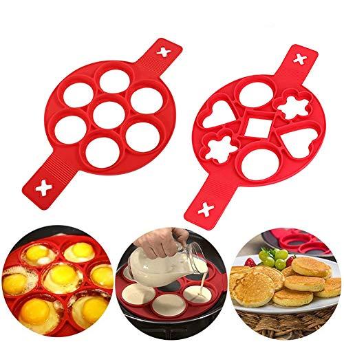 2 moldes para hacer panqueques, antiadherentes, de silicona para tortilla de forma cuadrada, para hacer huevos.