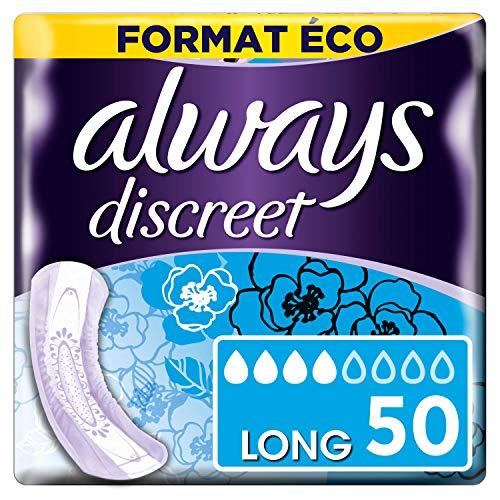 Always Discreet - Serviettes pour incontinence / fuites urinaires, Format éco x50 (plusieurs tailles / absorptions)
