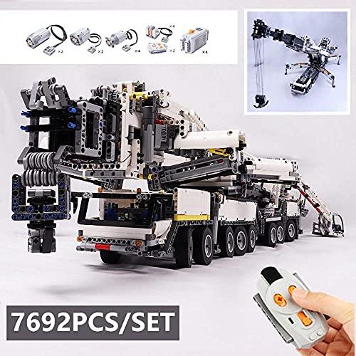 ZJLA Kit de construcción de grúa móvil LTM11200 RC Liebherr Kits de motor Bloques de ladrillos, grúa de construcción regalos para adultos juguetes de construcción hogar interior (Grúa Liebherr)