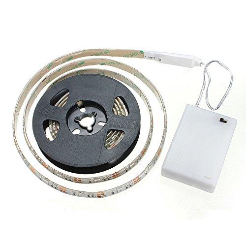 cuzile tira luz LED Color Blanco 100 cm 33 in. + Tira LED Luz batería caja + interruptor, funciona con pilas