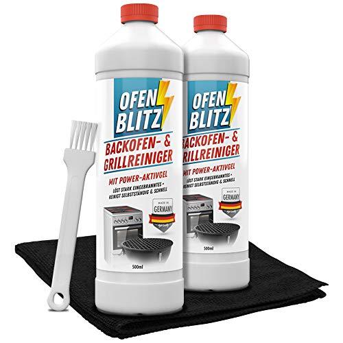 OfenBlitz Backofen- und Grillreiniger Set - (2x 0,5 Liter + Pinsel + Mikrofasertuch) | Backofen und Grillreiniger - Ofen Reiniger - Grill Reiniger (2x 500ml)