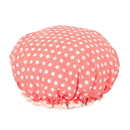 MZP Coréenne mignonne mousseline imprimé double couche bouchon de shampooing bonnet de bain imperméable douche bouchon huile de cuisson , 02# watermelon red dot