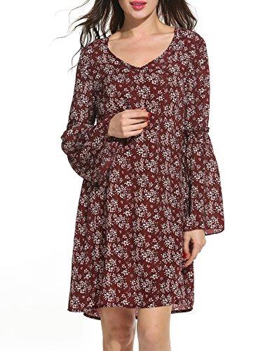Zeagoo Damen Kleid mit Blumenmuster V-Ausschnitt Locker Druckkleid Floral Print Kleid Glockenärmeln Knielang Blumenkleid (Weinrot, XL)