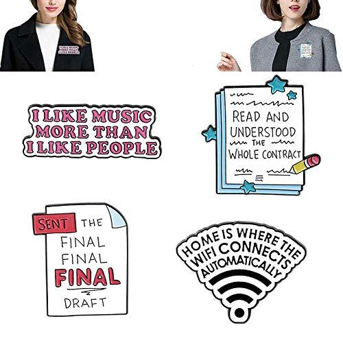 xiaomomo521 Cute Enamel Letter Brooch Pin Cartoon Enamel Pins Set Saying Enamel Pin Badges For Clothing Bags Jackets Accessory Wifi Signal Brooch Pin Jacket Collar Badge Decor 4pcs