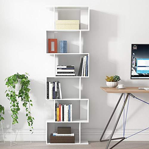 LEPAK 6 Ebenen Bücherregal Regal Weiß Holz Modern Zeitgenössisch Raumteiler Standregal Büroregal Wohnzimmer