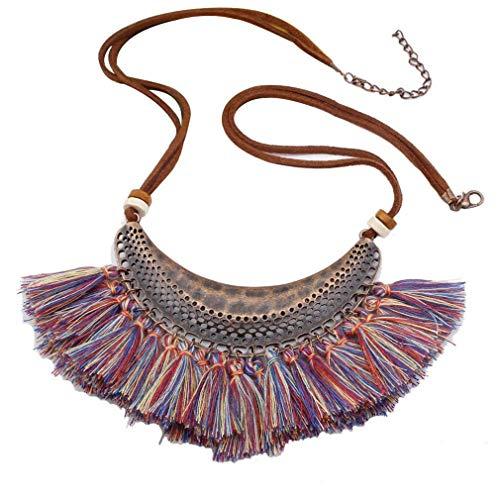 Ogquaton Vintage Media Luna Collar de la Borla Collar étnico Gargantilla Larga suéter Cadena Collar Regalo de la joyería para Las Mujeres, Color Azul útil y práctico