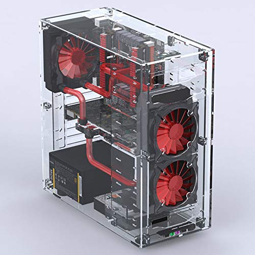 Geeek Acrylic DIY Transparent MATX/ATX/ITX Computer Water Cooling Open Case (Thicker Version Vertical Chassis)