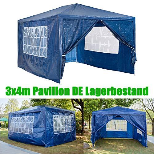 Huini 3x4m Pavillon (mit 4 Seitenwänden) Festzelt Markise komplett wasserdicht für Garten Hochzeit Event Camping BBQ einfache Installation - Blau