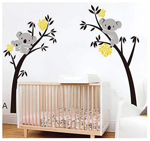 BDECOLL bebe koala stickers-Koala endormi et branche d'arbre stickers famille voiture-decoration maison murale-deco salon moderne-Arbre Stickers Muraux pour Chambre