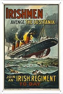 World War I One Tin Sign Metal Poster (reproduction) of Irishmen - avenge the Lusitania. Join an Irish regiment to-day