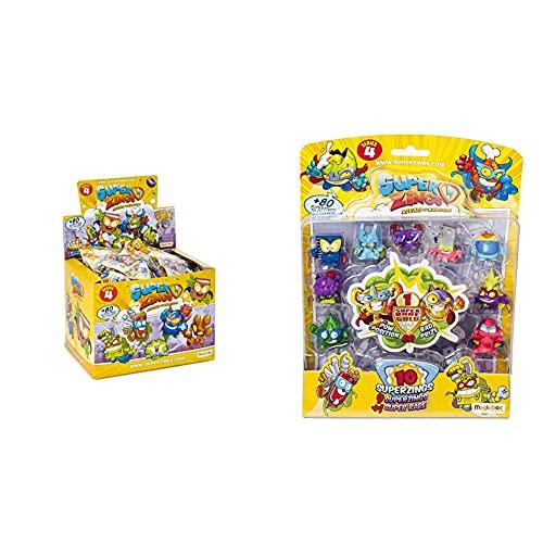 SuperZings Serie 4 Display De 50 Figuras Coleccionables (Psz4D850In01), con 1 Figura En Cada sobre + Serie 4 Blíster con 10 Figuras (Psz4B016In00), 9 Figuras Y 1 Figura Dorada Super Rare