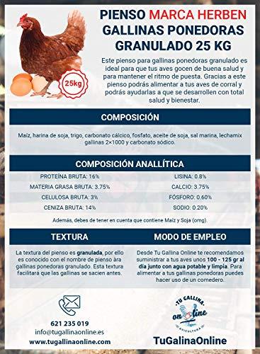 Pienso Granulado Gallinas Ponedoras, Saco de 25 Kg   Pienso de 1º Calidad, Rico en Nutrientes y Propiedades