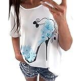 OVERDOSE Frauen Kurzarm Blumen Pumps Gedruckt Tops Strand Beiläufige Lose Bluse Top T-Shirt(Blau,EU-36/CN-S