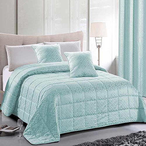 PimpamTex Jacquard-Tagesdecke, Flauschige Steppdecke für das Schlafzimmer, Eleganter und schöner Bettüberwurf, Hochwertige Wendebettdecke Modell Jacquard (240 x 270 cm, Grüne Maya)