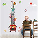 HHKX100822 Stickers Muraux Bricolage Camion De Pompiers Hauteur Tableau Enfants Chambre De Bébé Décoration Voiture De Dessin Animé Hauteur Souverain Affiche Home Decor