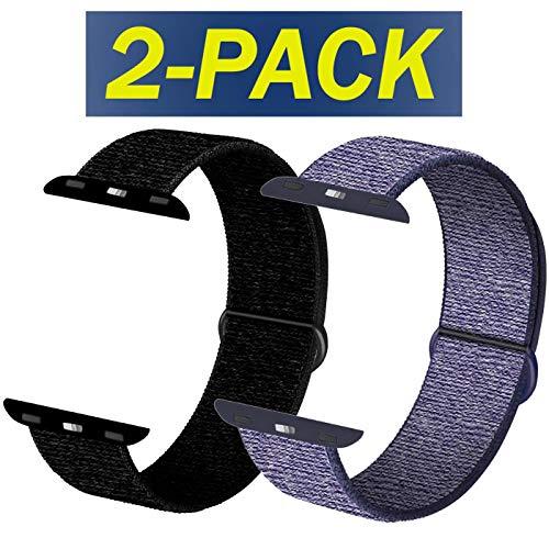 INZAKI Compatible Cinturino per Apple Watch Cinturino 38mm,40mm, Cinturino Orologio Bracciale in per iWatch Series 5/4/3/2/1,Blu Notte&Nero