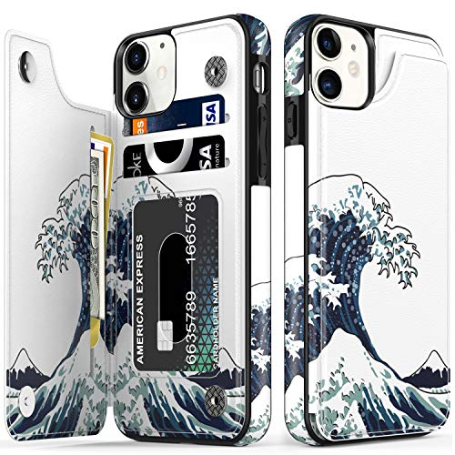 LETO iPhone 11 Case,Luxury Flip Folio Leather Wallet Case Cover with Fashion Floral Designs for Girls Women,Built-in Card Slots Kickstand,Protective Phone Case for iPhone 11 6.1