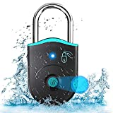 Fingerprint Padlock Locker Locks, Small Outdoor Weatherproof Bluetooth Thumbprint Padlocks With APP, Biometric Keyless, Waterproof USB Smart Finger Print Pad Lock For Gym, Gate, Luggage Backpack, Bike