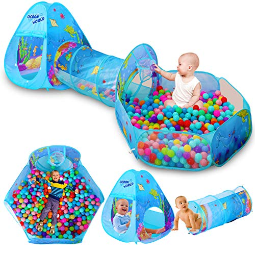 LEGVE Toys Ball Pit for 6 Months - 5 Year Old Boys, Kids Tunnel Tent for Baby Boys and Girls 1 2 3 4 5 Year Old Gifts on Birthday丨Playhouse for Kids and Toddlers Indoor or Outdoor-3pcs Playsets