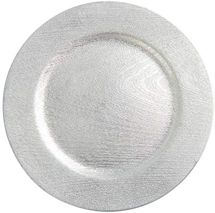 Silver low-pricing Woodgrain Round Outlet sale feature Charger 3 pieces Plate