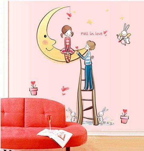 Topro Fall In Love Lapin-lune flèche de Cupidon autocollants muraux pour Home...