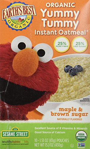Earths Best Oatmeal Instant Maple Brown Sugar Organic, 15.1 oz, 10 Count