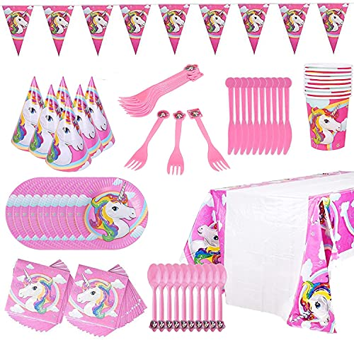 Juego de vajilla de unicornio,decoración de fiesta de unicornio, juego de fiesta de unicornio,...
