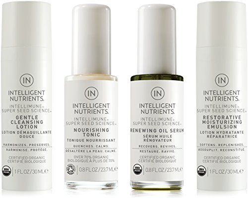 Intelligent Nutrients Normal & Sensitive Skin Care Travel Set - Organic Skin Care Set with Cleansing Lotion, Nourishing Tonic, Renewing Oil Serum & Restorative Moisture Emulsion (Set of 4)