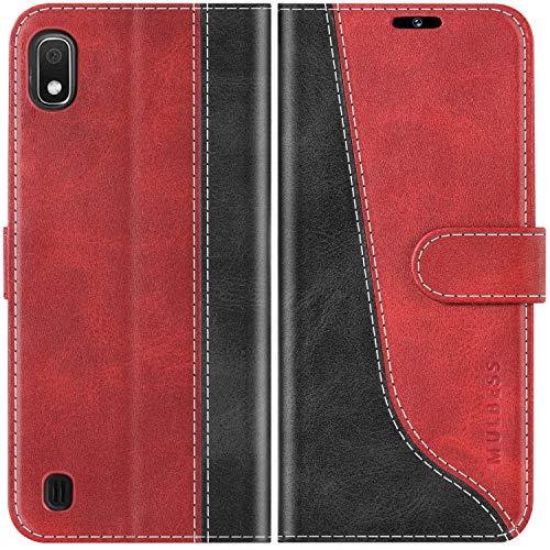 Mulbess Funda para Samsung Galaxy A10, Funda Móvil Samsung Galaxy A10, Funda Libro Samsung Galaxy A10 con Tapa Magnética Carcasa para Samsung Galaxy A10 / M10 Case, Vino Rojo