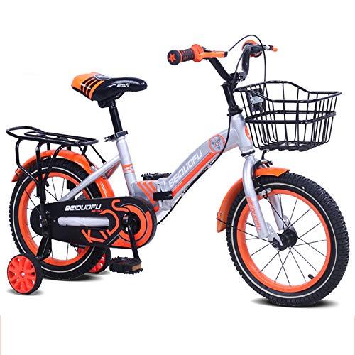 MXSXN Biciclette per Bambini Bicicletta Pieghevole per Bambini Unisex da Ragazza con Ruote Ausiliarie 12-18 Pollici Bicicletta per Studenti Freestyle Sportiva Adatta per 3-8 Anni,16'