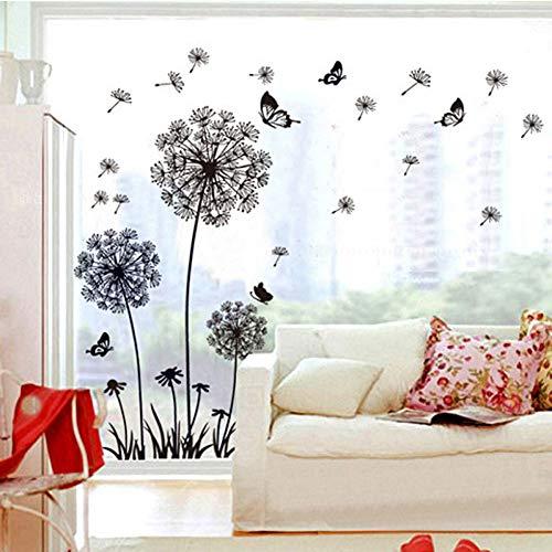 TYLOLMZ Muursticker paardenbloem zwart vlinders aan de muur woonkamer raamdecoratie slaapkamer wandsticker Home Decor sticker