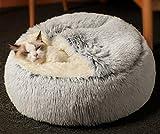 Cama para gatos de la cueva de la cama de la tienda de campaña, suave de felpa, para interior de gato, cálido, para invierno, cojín de dormir antideslizante, extraíble y lavable, cama para gato