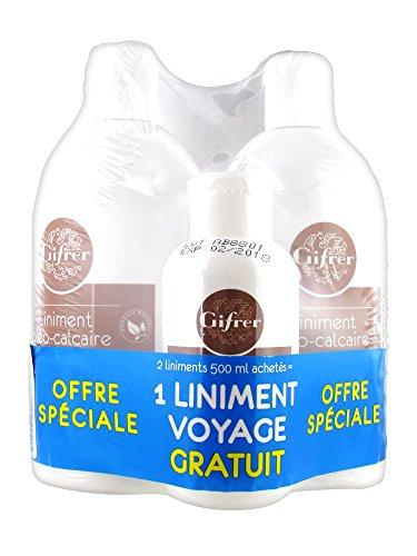 Gifrer Linimento óleo calcáreo estabilizado, lote de 2 x 500 ml + 1 linimento de viaje 100 ml
