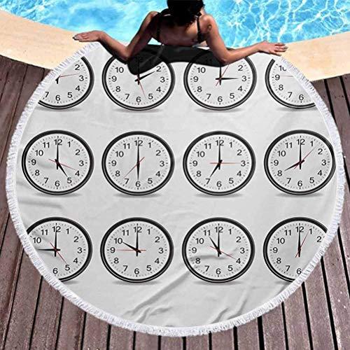 Toalla de Playa Reloj de Tapiz Redondo con números Que Muestran Cada Hora, ilustración, manecilla de Hora y Minuto, Uso del Tema para niños, Mujeres, Hombres, niños, niñas, Negro, Blanco (diámetro 59