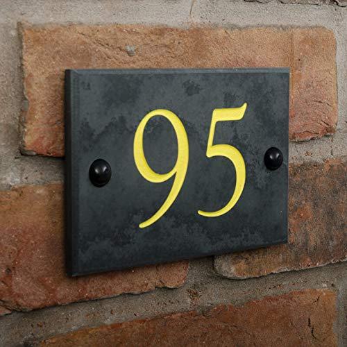 Numéro de maison en ardoise noire 1-99 – Choix de 6 polices et 6 couleurs