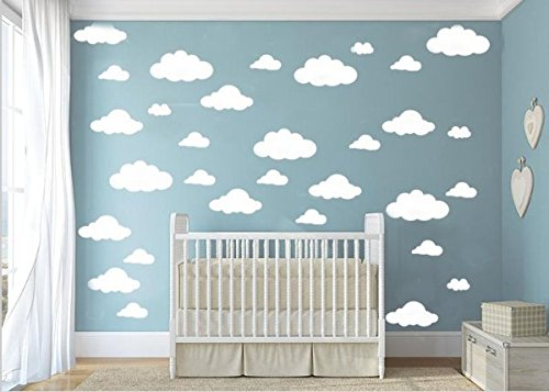 CUGBO 31pcs Big Clouds Vinyl Wall Decals DIY Wall Sticker Removable Wall Art Decor 4-10 inch for Living Room Nursery Kids Room(White)