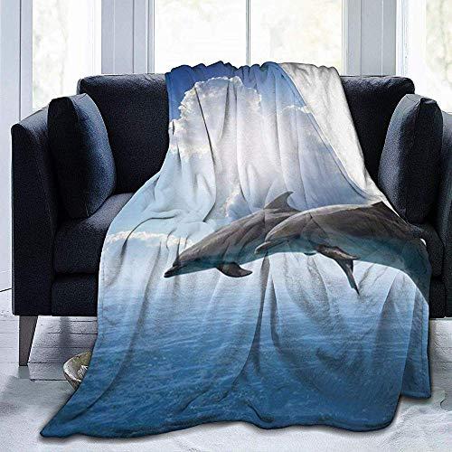 Asa Dutt528251 Super Soft Fleece Blanket 40'*50' Cute SeAnimals Dolphin-UltrSoft Micro Fleece Blanket-Warm Fluffy Lightweight Throw Blanket For Outdoor Indoor