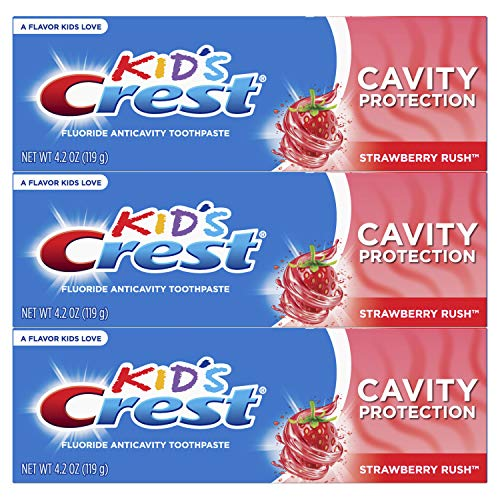 Crest Kid#039s Cavity Protection Fluoride Toothpaste Strawberry Rush 3 Count
