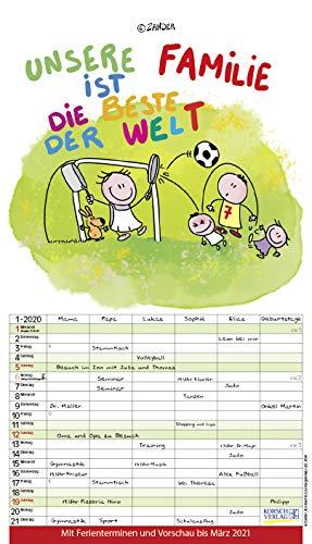 Unsere Familie ist die beste! 2020: Familienkalender - 6 breite Spalten mit viel Platz. Hochwertiger Familienplaner mit Ferienterminen, Vorschau bis März 2021 und tollen Extras. 27 x 47 cm.