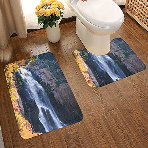 GUVICINIR Juego de 2 Alfombrillas de baño Antideslizantes Alfombra de baño,Hermosa Cascada Arroyo Bosque Tailandia Naturaleza Peces Asiáticos Que Fluye Jardín,alfombras y Alfombrillas