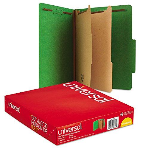 Universal Pressboard Classification Folders, Letter, Six-Section, Emerald Green, 10/Box