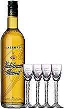 Aalborg Jubiläums Akvavit braun 0,7 Liter  4 Gläser mit Eichstrich 2 cl
