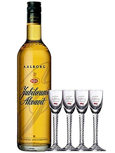 Aalborg Jubiläums Akvavit braun 0,7 Liter + 4 Gläser mit Eichstrich 2 cl