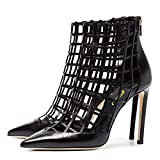 FSJ Women Sexy Caged Cutout Pointed Toe Ankle Boots Stiletto High Heels Pumps Party Shoes Size 6 Black