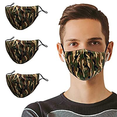 3PCS Camo Cloth Face Masks Washable with Filter...