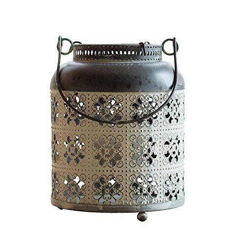 AJMINI Home decoratieve kaarsen lantaarns, glas en smeedijzeren thee licht kaars houder voor binnen of buiten
