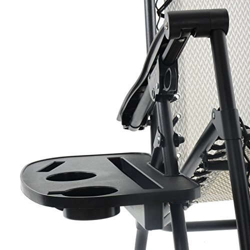 Azuma Clip On Relaxer Chair Side Table Tray iPad Phone Mug Glass Drinks Holder Attachable Camping Garden Beach Accessory Plastic Black